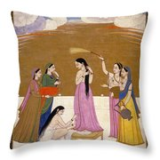 Preparation For The Meet With Lover. Throw Pillow