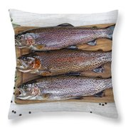 Preparing Trout For Dinner  Throw Pillow