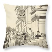 Presentation Of The Virgin In The Temple [center Plate] Throw Pillow
