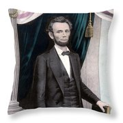 President Abraham Lincoln In Color Throw Pillow