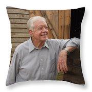 President Carter At His Boyhood Farm Throw Pillow