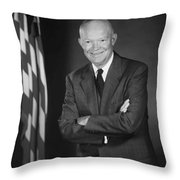 President Eisenhower And The U.s. Flag Throw Pillow