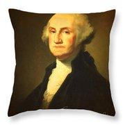 President George Washington Portrait And Signature Throw Pillow