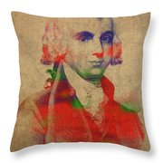 President James Madison Watercolor Portrait Throw Pillow