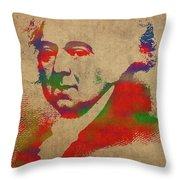 President John Adams Watercolor Portrait Throw Pillow