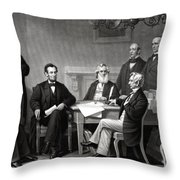 President Lincoln And His Cabinet Throw Pillow