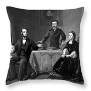 President Lincoln And His Family  Throw Pillow