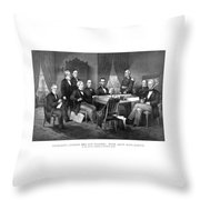 President Lincoln His Cabinet And General Scott Throw Pillow