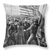 President Lincoln Holding The American Flag Throw Pillow
