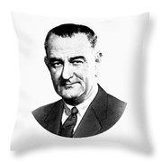 President Lyndon Johnson Graphic - Black And White Throw Pillow