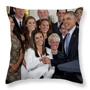 President Obama Honors Us Womens Soccer Team At White House #1 Throw Pillow