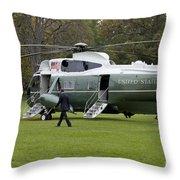 President Obama Walking Toward Marine One Throw Pillow