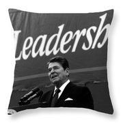 President Ronald Reagan Leadership Photo Throw Pillow