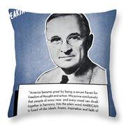 President Truman Speaking For America Throw Pillow