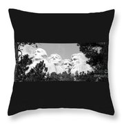 Presidents Of Mount Rushmore Framed By South Dakota Forest Trees Panoramic Black And White Throw Pillow