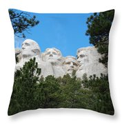 Presidents Of Mount Rushmore Framed By South Dakota Forest Trees Throw Pillow