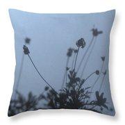 Pressed Daisy Bush Blue Throw Pillow