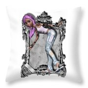 Pretty 3d Girl Sneaks Out Of Frame Throw Pillow
