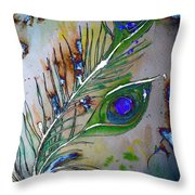 Pretty As A Peacock Throw Pillow by Denise Tomasura