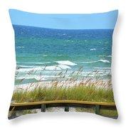 Pretty Blue Gulf Throw Pillow