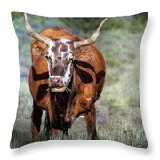 Pretty Female Cow With Horns Throw Pillow