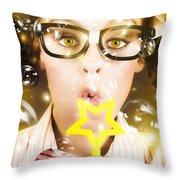 Pretty Geek Girl At Birthday Party Celebration Throw Pillow