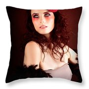 Pretty Glamour Fashion Girl On Red Backlight Throw Pillow