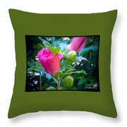 Pretty In Pink Hibiscus Flowers And Buds Throw Pillow