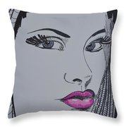 Pretty In Pink Lips Throw Pillow