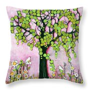 Pretty In Pink Paradise Tree Throw Pillow