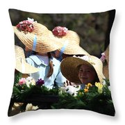 Pretty Little Flower Girls Throw Pillow