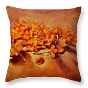 Pretty Little Orange Flowers - Kankaambaram Throw Pillow