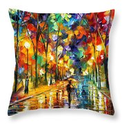 Pretty Night - Palette Knife Oil Painting On Canvas By Leonid Afremov Throw Pillow