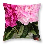 Pretty Pink Peonies In Ball Jar Vase Throw Pillow