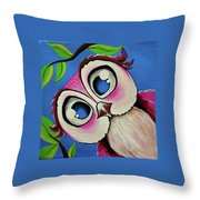 Pretty Pinky Owl Throw Pillow