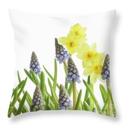 Pretty Spring Flowers All In A Row Throw Pillow