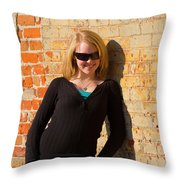 Pretty Teen In Jeans Throw Pillow
