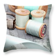 Pretty Vintage Sewing Notions Throw Pillow