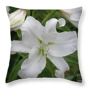 Pretty White Lilies Blooming In A Garden Throw Pillow