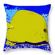 Pretty Yellow Fish Throw Pillow