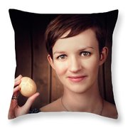 Pretty Young Brunette Woman Holding Hatching Egg Throw Pillow
