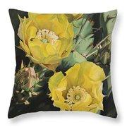 Prickle Pear Cactus Flower Trio Throw Pillow