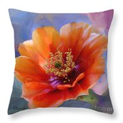 Prickly Pear Bloom Throw Pillow