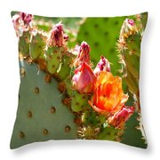 Prickly Pear Blooms Throw Pillow