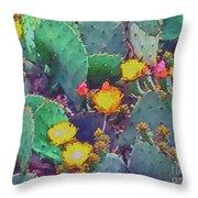 Prickly Pear Cactus 2 Throw Pillow