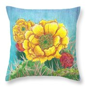 Prickly Pear Cactus Flowering Throw Pillow