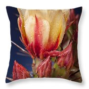 Prickly Pear Flower Wet Throw Pillow