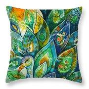 Peacock Pride Throw Pillow