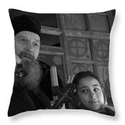 Priest And A Young Girl  Throw Pillow