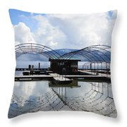 Priest Lake Boat Dock Reflection Throw Pillow